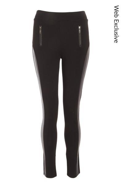 Black Zip High Waist Leggings